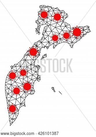 Carcass Polygonal Map Of Kamchatka Peninsula Under Lockdown. Vector Model Is Created From Map Of Kam