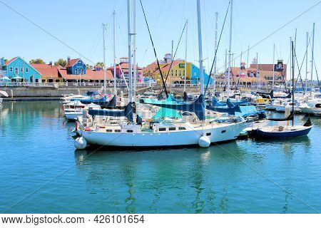 July 6, 2021 In Long Beach, Ca:  Sailboats And Yachts Docked At Shoreline Village In Long Beach, Ca