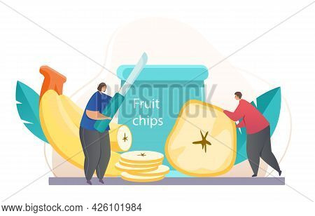 Healthy Fruit Chips. A Man And A Woman Cook And Eat Banana Slices Fried In Oil. An Appetizer With An
