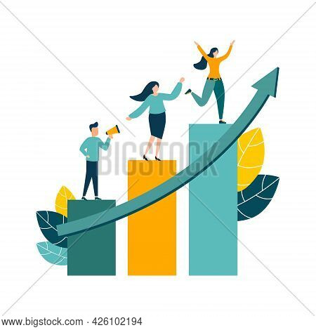 Vector Illustration, People Running To Their Goal, Moving Up With Motivation, Towards The Goal