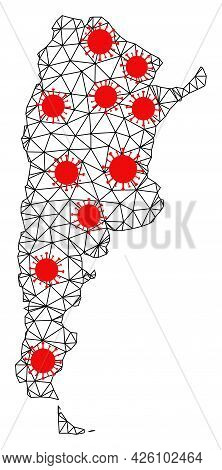 Carcass Polygonal Map Of Argentina Under Outbreak. Vector Model Is Created From Map Of Argentina Wit