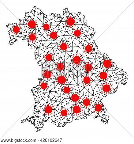 Carcass Polygonal Map Of Bavaria State Under Outbreak. Vector Model Is Created From Map Of Bavaria S