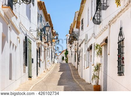 Typical View Of Altea Old Town In Spain. Beautiful Village With Cobblestoned Narrow Streets, Typical
