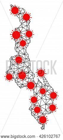 Carcass Polygonal Map Of Malawi Under Lockdown. Vector Structure Is Created From Map Of Malawi With