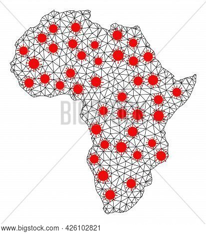 Mesh Polygonal Map Of Africa Under Infection. Vector Model Is Created From Map Of Africa With Red In