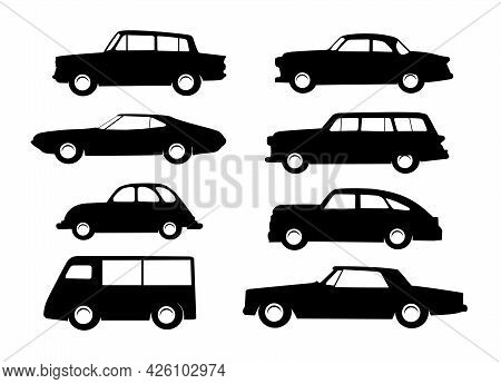 Set Images Of Vector Sketches Object Element Retro Car