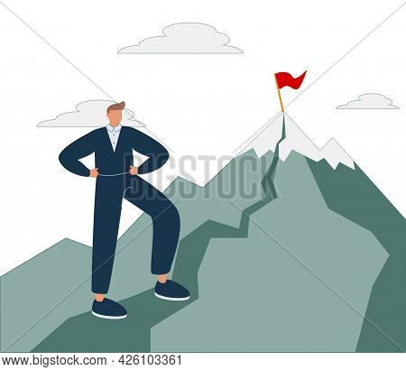 Career Success As Up Direction For Work Rise Achievement Tiny Person Concept. Successful Job Develop