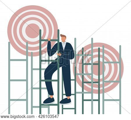 Aim To Target And Climbing Stairs To Reach Business Goal Tiny Persons Concept. Ambitions And Determi