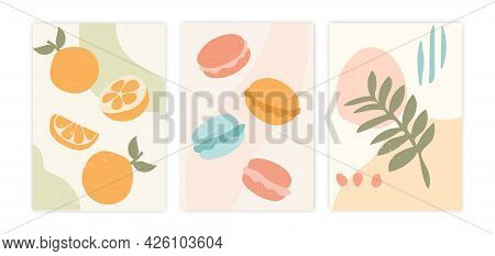 Abstract Posters With Fruits And Sweets. A Beautiful Minimalistic Collage With Lemons, Macaroons And