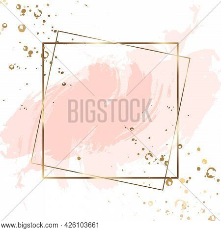 Gold Square Frame Double. Luxury Square Banner With Watercolor Stains. Abstract Background. Vector I