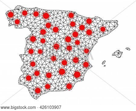 Wire Frame Polygonal Map Of Spain Under Outbreak. Vector Structure Is Created From Map Of Spain With