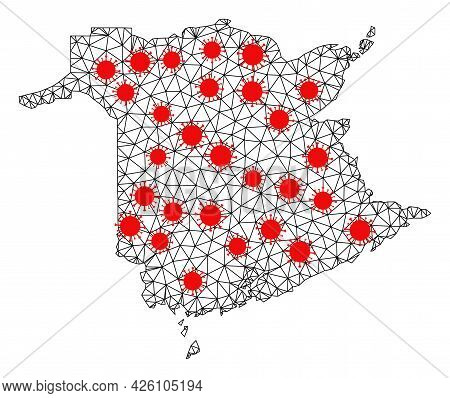 Mesh Polygonal Map Of New Brunswick Province Under Lockdown. Vector Structure Is Created From Map Of