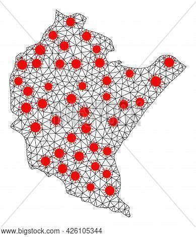 Carcass Polygonal Map Of Podkarpackie Province Under Lockdown. Vector Model Is Created From Map Of P