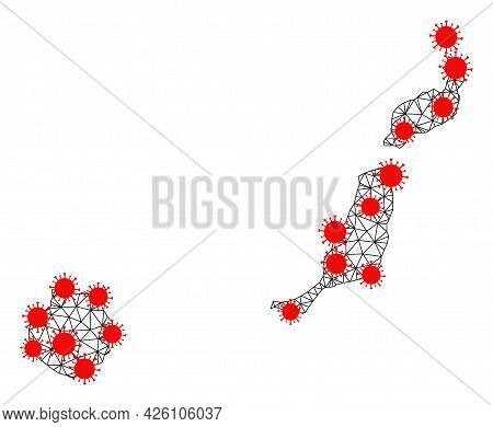 Wire Frame Polygonal Map Of Las Palmas Province Under Outbreak. Vector Structure Is Created From Map