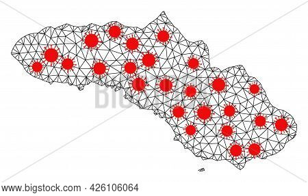 Wire Frame Polygonal Map Of Sumba Island Under Outbreak. Vector Structure Is Created From Map Of Sum