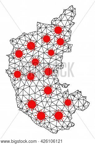 Mesh Polygonal Map Of Karnataka State Under Lockdown. Vector Structure Is Created From Map Of Karnat