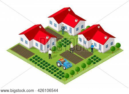 Isometric Rural Rustic Farm With Flowers And The Beds