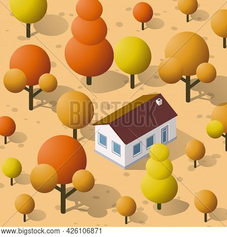 Isometric Autumnal City With Houses And Streets With Trees