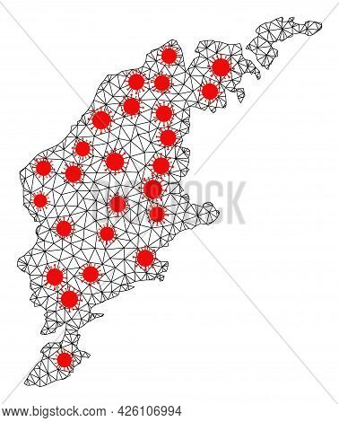 Mesh Polygonal Map Of Gotland Island Under Infection. Vector Model Is Created From Map Of Gotland Is