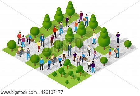 Isometric Park City Walking Holidaymakers Joyful People