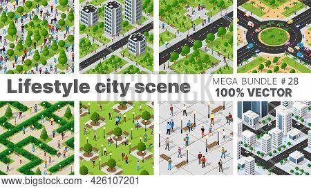 The Citys Lifestyle Scene Set Illustrations On Urban Themes