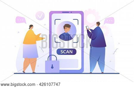 Face Recognition Concept Design. The Man Removes The Smartphone Lock Using The Biometric Data Of The