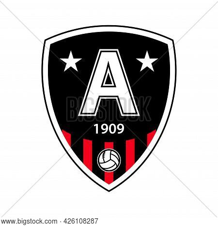 Football Club Emblem Template For Souvenir Products. Logo With Founding Date, Soccer Ball And Club C
