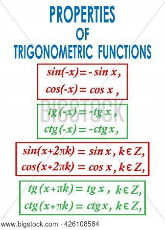Vector Illustration Depicting The Mathematical Formulas Of The Properties Of Trigonometric Functions