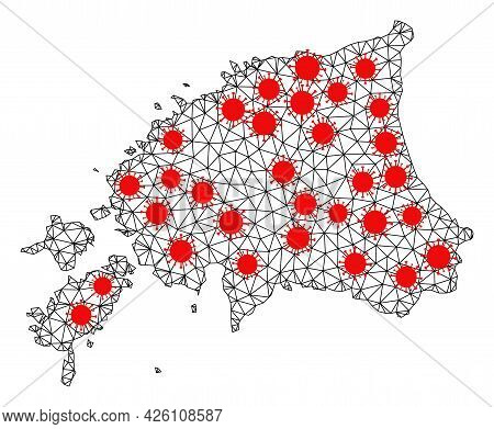 Network Polygonal Map Of Estonia Under Lockdown. Vector Structure Is Created From Map Of Estonia Wit