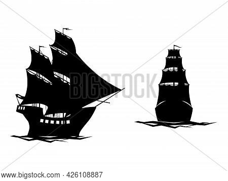 Black And White Vector Illustration Depicting Old Sailing Ships For Prints On Clothes, Banners, Note