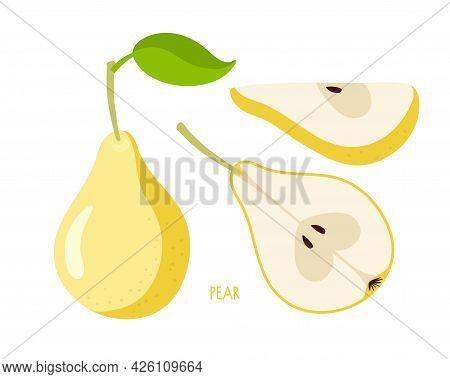 Pear Set. Flat Icon Yellow Pear Fruit With Leaf, Cut, Segment. Farmer Market Logo. Organic Food Eco