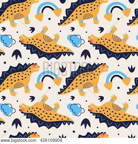 Vector Illustration Of Seamless Pattern With Dinosaur. Yellow Stegosaurus On A Beige Background. Rai