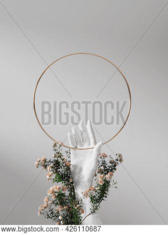 3d Background Round Frame Display, Stone Hand Sculpture. Nature Rose Flower Blossom. White Feminine