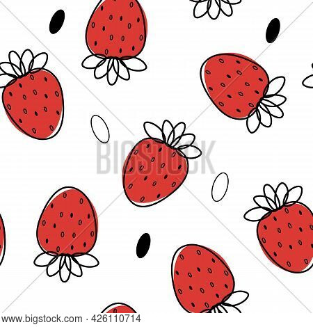 Seamless Pattern With Strawberry Summer Fruit Idrawing Llustrations. Textile Clothes Print, Typograp