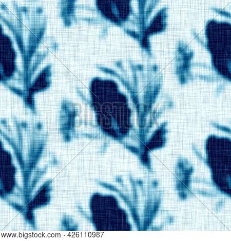 Cyanotypes Blue White Botanical Linen Texture. Faux Photographic Leaf Sun Print Effect For Trendy Ou