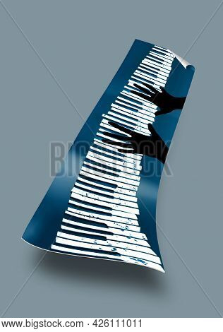 Hands Are Seen On A Well Worn And Paint Spattered Piano Keyboard Poster. This Is A 3-d Illustration.
