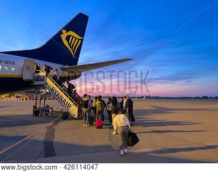 Barcelona, Spain. June 26. 2021. Back Of An Airplane On The Tarmac Of An Airport At Sunrise Or Sunse