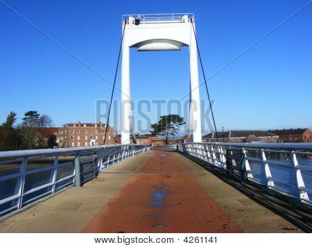 Forton Lake Bridge Against Blue Sky