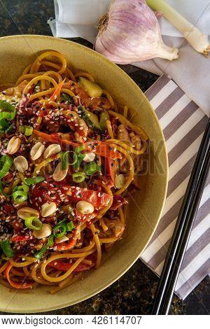 Spicy Thai Chicken Peanut Butter Lo Mein Noodles With Tuxedo Sesame Seeds