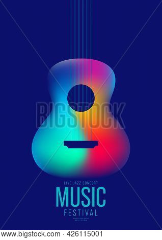 Music Poster Design Template Background Decorative With Colorful Gradient Guitar. Design Element Tem