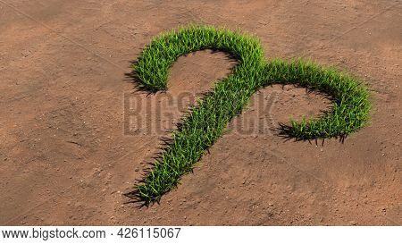 Concept conceptual green summer lawn grass symbol shape on brown soil or earth background, aries zodiac sign. 3d illustration symbol for esoteric, mystic, the power of prediction of astrology