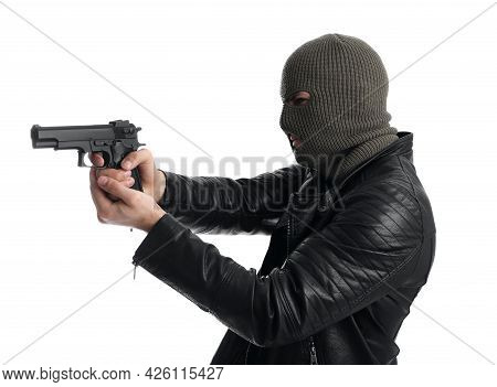 Man Wearing Knitted Balaclava With Gun On White Background