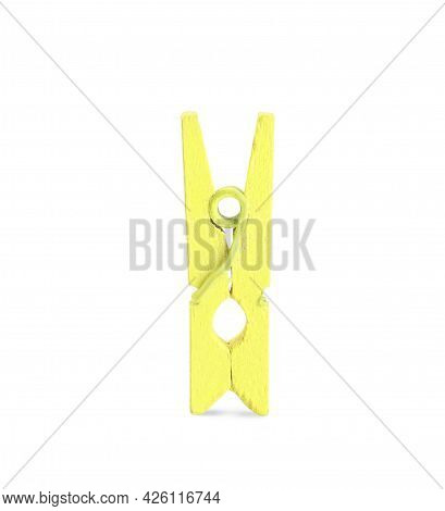 Bright Yellow Wooden Clothespin Isolated On White