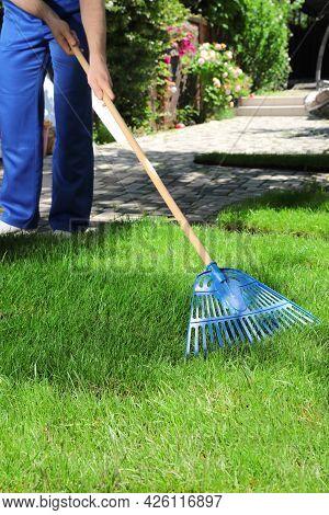 Gardener Raking Grass Sod On Backyard, Closeup