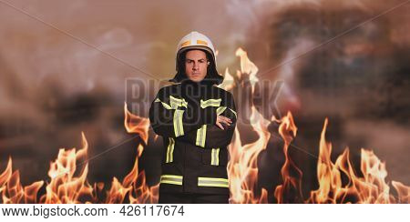 Rescuer Wearing Uniform And Helmet. Professional Firefighter