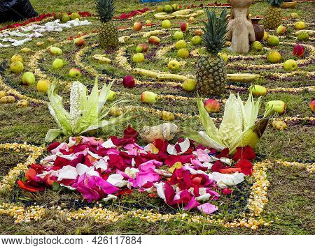 Details Of Chacana (andean Cross) Or Ceremony In Homage To Pachamama (mother Earth) - Is An Aborigin