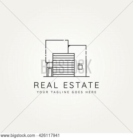 Elegant Real Estate Minimalist Line Art Icon Logo Template Vector Illustration Design. Simple Modern