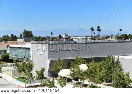 WESTMINSTER, CALIFORNIA - 5 JULY 2021: High angle view of the Le-Jao Campus building of Coastline Community College near Little Saigon.
