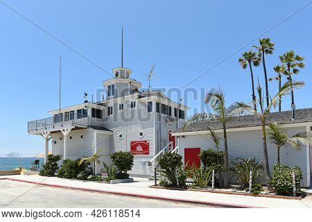 LONG BEACH, CALIFORNIA - 5 JULY 2021: The Dutch Miller Historical Lifeguard Station, home of the Long Beach Lifeguard Headquarters.
