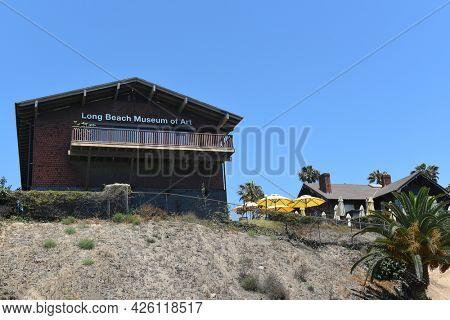 LONG BEACH, CALIFORNIA - 5 JULY 2021: Long Beach Museum of Art in the Bluff Park neighborhood, seen from the beach side.